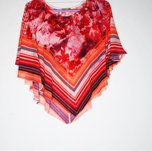 NWOT LIVE AND LET LIVE floral sheer poncho.